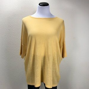 Investments Yellow Short Sleeve Loose Fitting Top